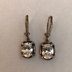 Diamonique Sterling Silver Lever-back Earrings
